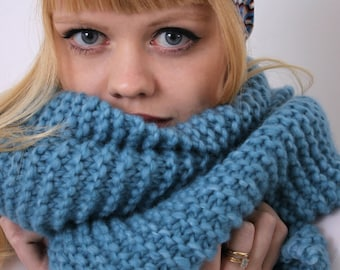 Blue merino wool scarf