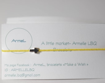 Yellow cord and genuine silver cross bracelet