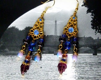 "Earrings style Bohemian ""BlueMoon"" gold tone metal, Czech glass cobalt blue and purple, blue cabochons"