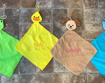 Personalized Child Wash Cloth-Embroidered-Custom-Animal-Bear-Frog-Puppy-Duck-Easter Gift