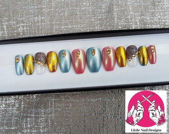 Pink And Blue | Gold Swarovski Crystals | Prom | Party | Beautiful Hand Painted False Nails | Little Nail Designs