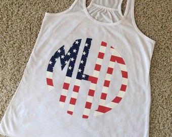 American Flag Monogram Tank