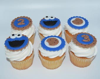 Cookie Monster, cookie monster fondant cupcake toppers, cookie monster cupcake, cookie monster party, first birthday, Sesame Street party