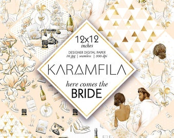 Wedding Digital Paper Bride Scrapbook Magnolia Peach Stationery Supplies