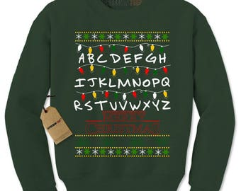 Strange Merry Christmas Ugly Holiday Adult Crewneck Sweatshirt