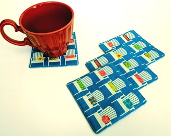 Fabric Coasters - Beach Chair Coasters - Sanibel Coasters - Set of 4