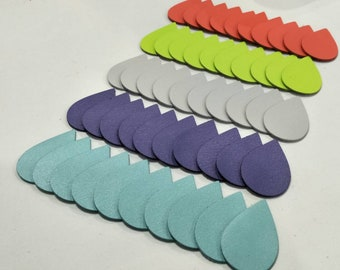 Leather Teardrops, Mixed Colors, 50 Pcs. (25 Pairs), 40mm. 50mm. 57mm. Long, Teardrops Shape, Teardrops Cut Outs, Earing Accessories.