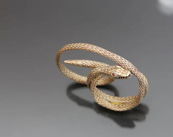 Art Deco Snake Bracelet. Coiled Woven 800 Silver Gilded Flexible. Egyptian Revival, Gold Plated Serpent