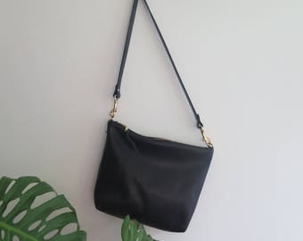 SAMPLE SALE // Leather Crossbody Bag, Black Leather purse, Leather Hobo Bag, Black leather bag