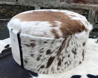 Cowhide footstool, upholstered stool, hair on hide, home and living, home accessories