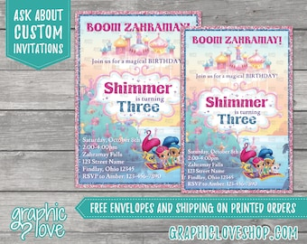 Shimmer and Shine Personalized Birthday Invitation | 4x6 or 5x7, Digital or Printed