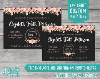 Personalized Cherry Blossom Floral Graduation Invitation/Announcement | 4x6 or 5x7, Digital File or Printed, FREE US Shipping & Envelopes