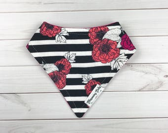 Hot Pink, Coral Floral with Black and White Stripes Baby Drool Bibdana