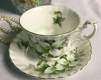 """Royal Albert """"Trillium"""" Bone China Teacup and Saucer"""