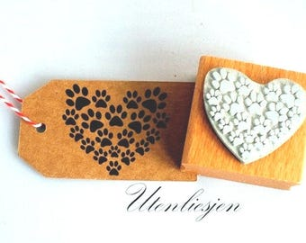 Stamp heart with paws, rubber stamp 30x40 mm
