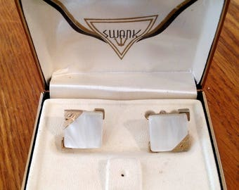 Swank Cufflinks White Mother Of Pearl Square Cuff Links 1960s,