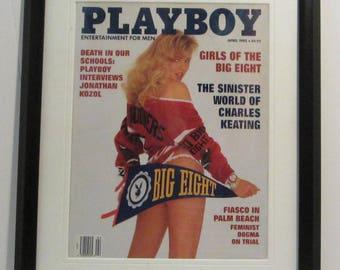 Vintage Playboy Magazine Cover Matted Framed : April 1992 - Wendy Kaye