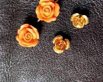 SUMMER17 Joli ensemble de 4 roses facon corail et doré
