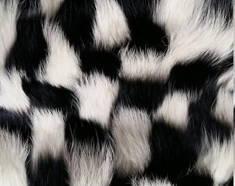 Check pattern rabbit fur