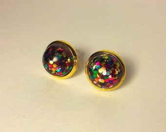 10mm glitter earrings