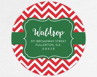 24 HOUR DIGTIAL FILE, Christmas Return Address Labels, Holiday Return Address Labels, Christmas Address Labels, Chevron Address Labels