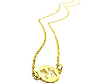 Elegant initial necklace / Gold sterling silver - affordable gift- friendship- mother- daughter /