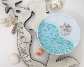 Hand Painted Ocean Jewelry Plate