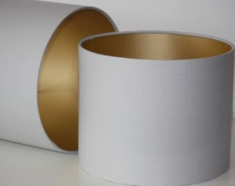 Light Grey handmade drum lampshade with gold lining available in variety of sizes