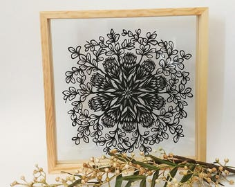 Original Protea & Bluegum - papercut artwork