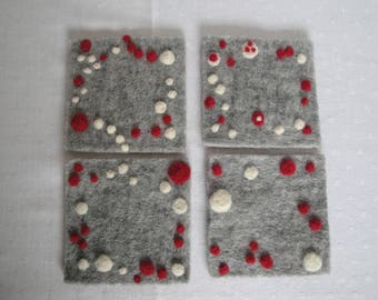 scandi design mats, hygge homewares, grey felt coasters, hostess gift, felt candle mats, grey cream red mats, hygge holiday gift, coasters