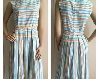 Vintage 50s Dress - Retro Blue Fifties Silk Dress  - xxs/xs - FREE SHIPPING