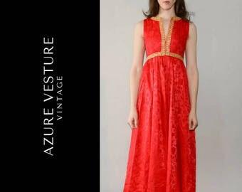 1960s Party Dress. 60s Grecian Style Evening Dress, Prom Dress, Formal Dress, Red Dress, Wedding Guest Dress, Maxi Dress, XS