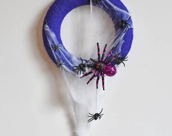 A Spider A Day - Handmade Spider and Purple Hessian Halloween Wreath