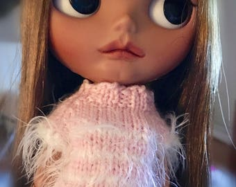Hand knitted stripes top, sweater for Blythe Doll