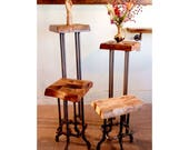 Reclaimed wood Stool with pipe legs, Plant stand or vase holder, made from hand-hewn barnwood and log cabins