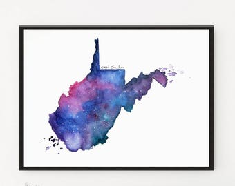 West Virginia Map, Map art, Map gifts, Starry Night, Watercolor Painting, Illustration art, State Map Print, Modern art, Long Distance gift