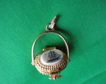 Gold Tone Nantucket Basket Necklace Pendant