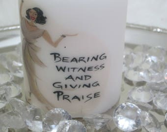 """Decorative Christian Candle,""""Giving Praise"""", communion candle, memorial candles"""