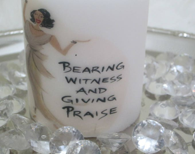 "Decorative Christian Candle,""Giving Praise"", communion candle, memorial candles"