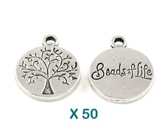 50 sequins round pendants tree of life 12 mm antique silver