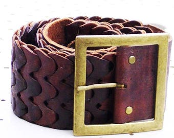 beautiful leather belt thick Moroccan handicraft made