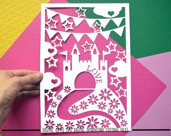 Castle paper cut svg / dxf / eps / files and pdf / png printable templates for hand cutting. Digital download. Commercial use ok.