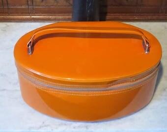 Spring Sale Vintage Tangerine Vinyl Oval Train Case -Very Cool