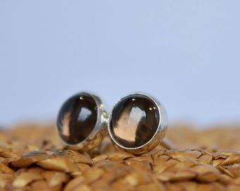 Smoky Quartz Stud Earrings, Smokey Quartz Earrings, Chocolate Brown Gemstone Earrings: Sterling Silver, Gold Filled