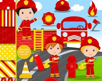 80% OFF SALE Firefighter clipart, Firefighter party clipart, fireman digital image, fireman graphics, firefighter - CL134
