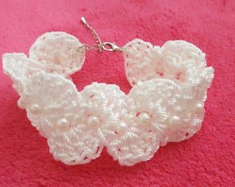 Knitted White Bracelet