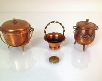 set of 3 french copper miniatures