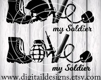 Love Army SVG - png - dxf - eps - ai -fcm - Cut File - Silhouette - Cricut - Scan n Cut - Army Wife - Love My Soldier SVG - Army Cut File