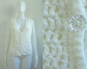 iridescent crochet sweater vest 80s white knit vest acrylic yarn handmade vest 1980s hand knit minimalist waistcoat womens xs small