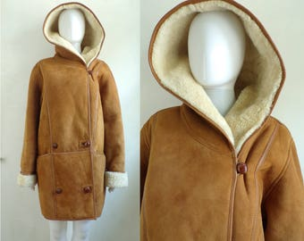 40%offJuly25-27 90s suede & shearling coat wool shearling winter coat brown suede leather hooded coat double breasted womens medium/large